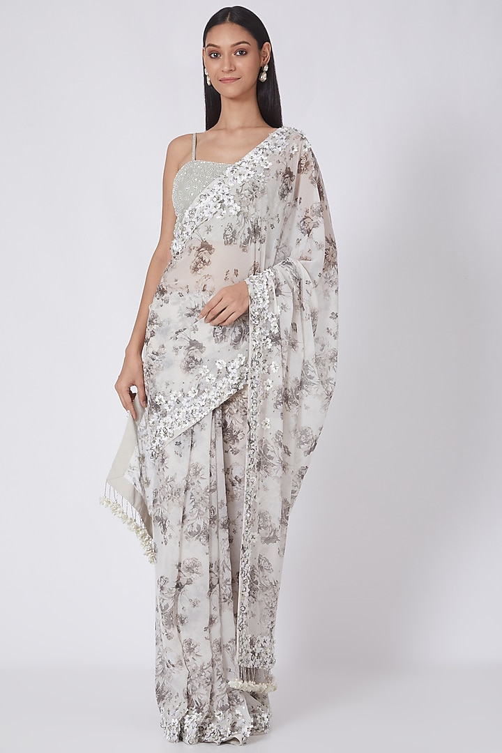 Ivory-Grey Printed & Embroidered Saree by NSS Pret by Pallavi Mohan