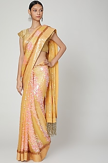 Orange Embroidered Saree Set by Not So Serious By Pallavi Mohan