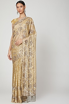 Gold Embroidered Saree Set by Not So Serious By Pallavi Mohan