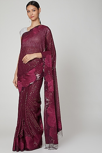 Wine Embroidered Saree Set by Not So Serious By Pallavi Mohan