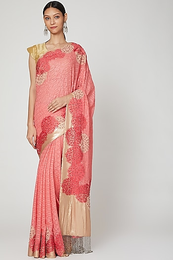 Peach Embroidered Saree Set by Not So Serious By Pallavi Mohan