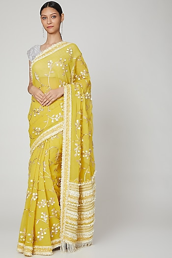 Yellow Embroidered Saree Set by Not So Serious By Pallavi Mohan