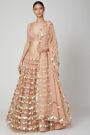 Blush Pink Embroidery Lehenga Set by Not So Serious By Pallavi Mohan