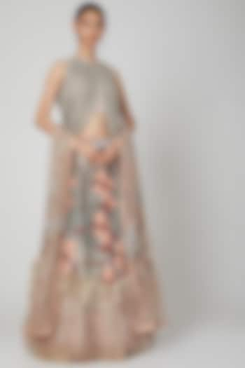 Blush Pink Lehenga Set With Light Grey Embroidery by Not So Serious By Pallavi Mohan