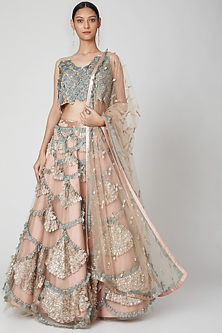 Blush Pink Appliques Embroidery Lehenga Set by Not So Serious By Pallavi Mohan