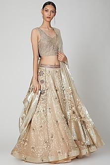 Nude Embroidered Lehenga Set by Not So Serious By Pallavi Mohan