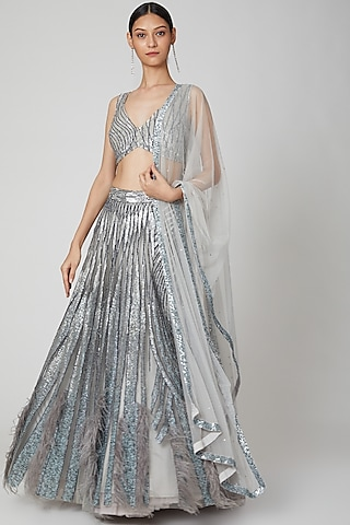 Light Grey Embroidered Lehenga Set by Not So Serious By Pallavi Mohan
