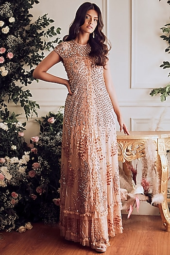 Nude Sequins Embroidered Gown by Not So Serious By Pallavi Mohan