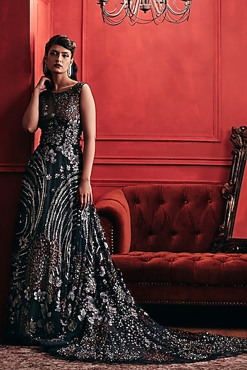 Navy Blue Embroidered Gown by Not So Serious By Pallavi Mohan