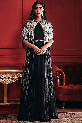 Navy Blue Embroidered Gown With Cape & Belt by Not So Serious By Pallavi Mohan