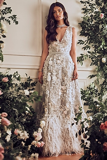 Light Grey Embroidered Gown With Inner & Belt by Not So Serious By Pallavi Mohan