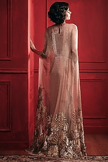 Gold Sequins Embroidered Gown by Not So Serious By Pallavi Mohan