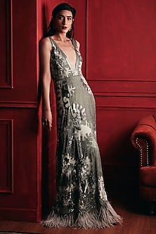 Light Grey Embroidered Gown by Not So Serious By Pallavi Mohan