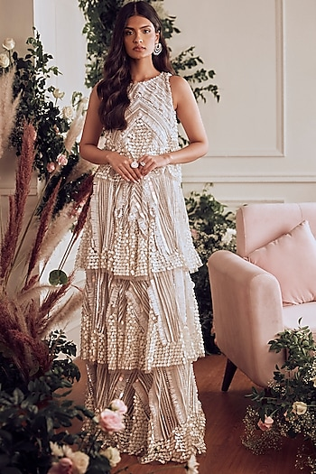 Ivory Beads Embroidered Gown by Not So Serious By Pallavi Mohan