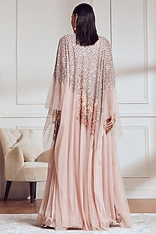Blush Pink Embroidered Kaftan With Inner by Not So Serious By Pallavi Mohan