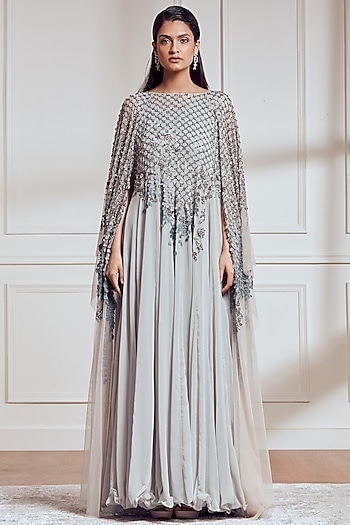 Grey Embroidered Kaftan With Inner by Not So Serious By Pallavi Mohan
