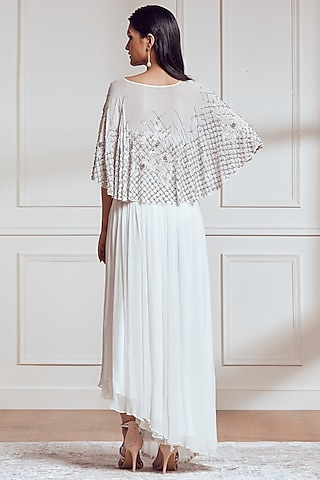 Ivory Embroidered Cape Set by Not So Serious By Pallavi Mohan