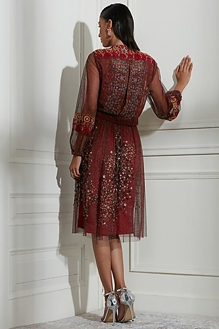 Wine Embroidered Skirt Set by Not So Serious By Pallavi Mohan