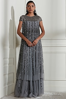 Grey Appliques Embroidered Dress by Not So Serious By Pallavi Mohan