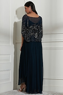Navy Blue Embroidered Skirt Set by Not So Serious By Pallavi Mohan