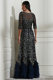 Navy Blue Embroidered Dress With Inner by Not So Serious By Pallavi Mohan