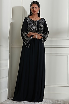 Navy Blue Appliques Embroidered Kaftan Dress With Inner by Not So Serious By Pallavi Mohan
