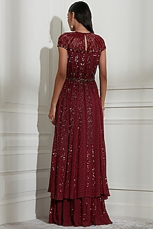 Wine Embroidered Dress With Belt by Not So Serious By Pallavi Mohan