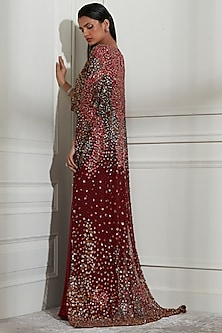 Wine Floral Embroidered Dress With Inner by Not So Serious By Pallavi Mohan