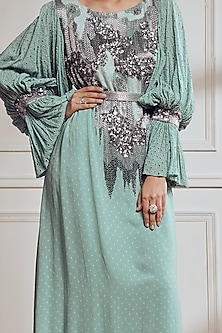 Grey Floral Embroidered Kaftan Dress With Inner by Not So Serious By Pallavi Mohan