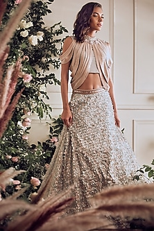 Light Blush Embroidered Lehenga Set by Not So Serious By Pallavi Mohan
