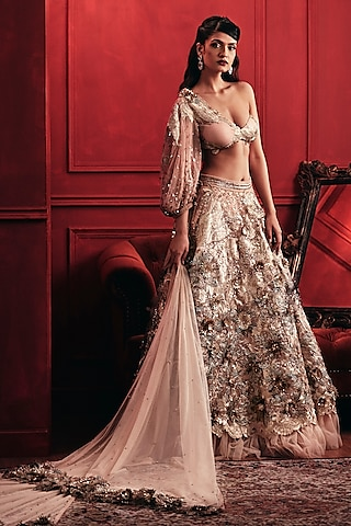 Gold Appliques Embroidered Lehenga Set by Not So Serious By Pallavi Mohan