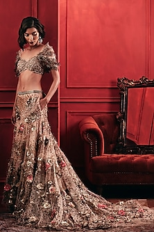 Gold Feather Embroidered Lehenga Set by Not So Serious By Pallavi Mohan