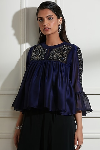 Navy Blue Embroidered Top With Black Pants by Not So Serious By Pallavi Mohan
