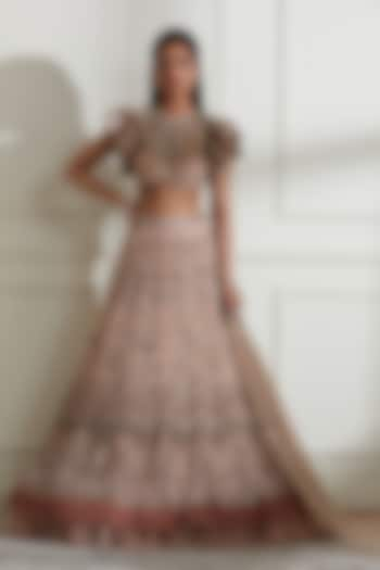 Blush Pink Appliques Embroidered Lehenga Set by Not So Serious By Pallavi Mohan