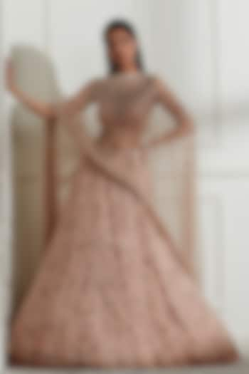 Blush Pink Pearl Embroidered Lehenga Set by Not So Serious By Pallavi Mohan