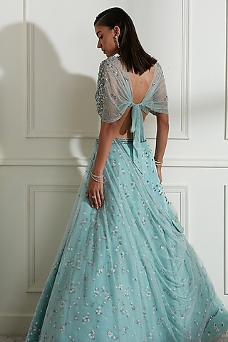 Aqua Blue Embroidered Lehenga Set by Not So Serious By Pallavi Mohan