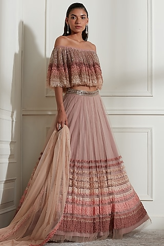 Blush Pink Laser Cut Embroidered Lehenga Set by Not So Serious By Pallavi Mohan
