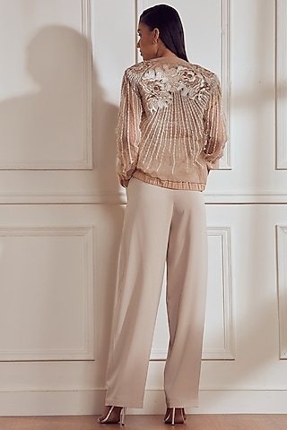 Blush Embroidered Jacket With Trousers by Not So Serious By Pallavi Mohan