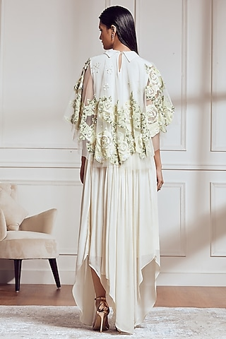 Light Lemon Yellow Embroidered Top With Skirt by Not So Serious By Pallavi Mohan