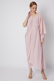 Blush Pink Viscose Rayon Dress by Naina Seth