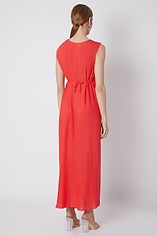 Coral Red Dress With Closed Neckline by Naina Seth