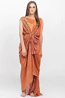 Burnt Orange Embellished Dress by Naina Seth