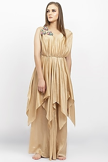 Gold Applique Embellished Jumpsuit by Naina Seth