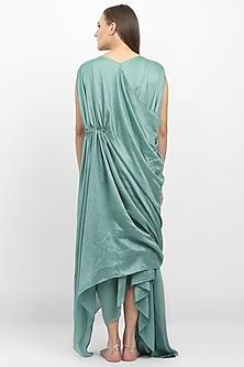 Sage Green Embellished Draped Dress by Naina Seth