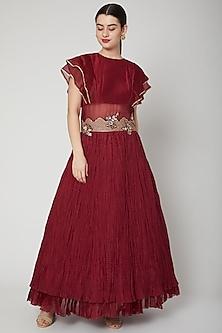 Red Zardosi Embroidered Gown by Nadima Saqib
