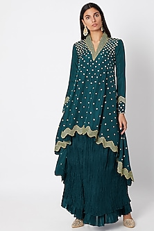 Emerald Green Asymmetrical Top With Skirt by Nadima Saqib-PRODUCTS ON DISCOUNT