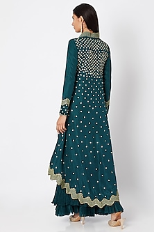 Emerald Green Asymmetrical Top With Skirt by Nadima Saqib