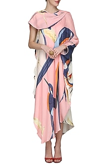 Pink Draped Midi Dress by N&S Gaia