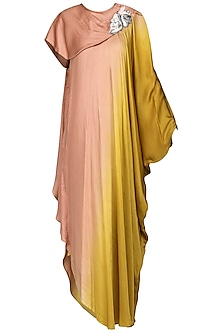 Pink and Yellow Embroidered Maxi Dress by N&S Gaia