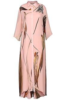 Pink Printed Long Shirt Dress by N&S Gaia